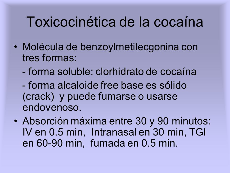 Toxicocinética de la cocaína