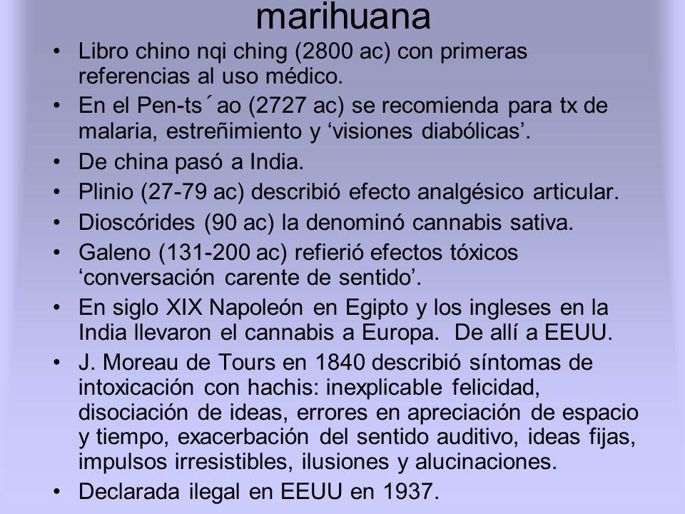 marihuana Libro chino nqi ching (2800 ac) con primeras referencias al uso médico.