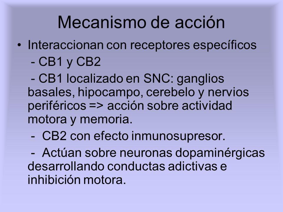 Mecanismo de acción Interaccionan con receptores específicos