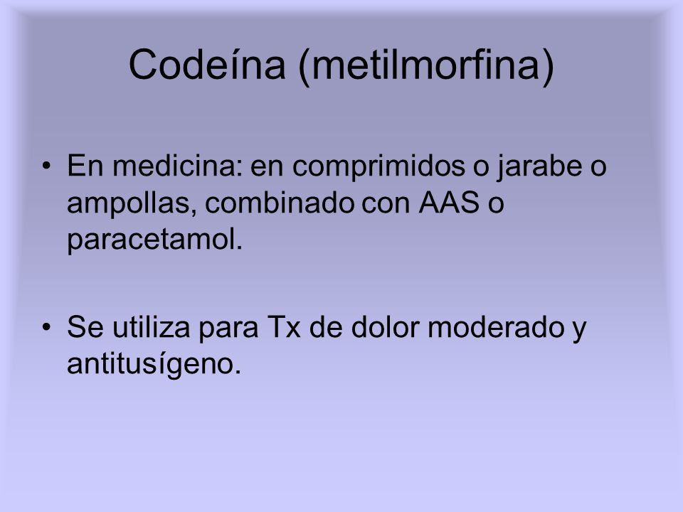 Codeína (metilmorfina)