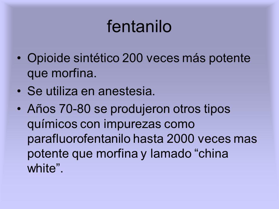 fentanilo Opioide sintético 200 veces más potente que morfina.