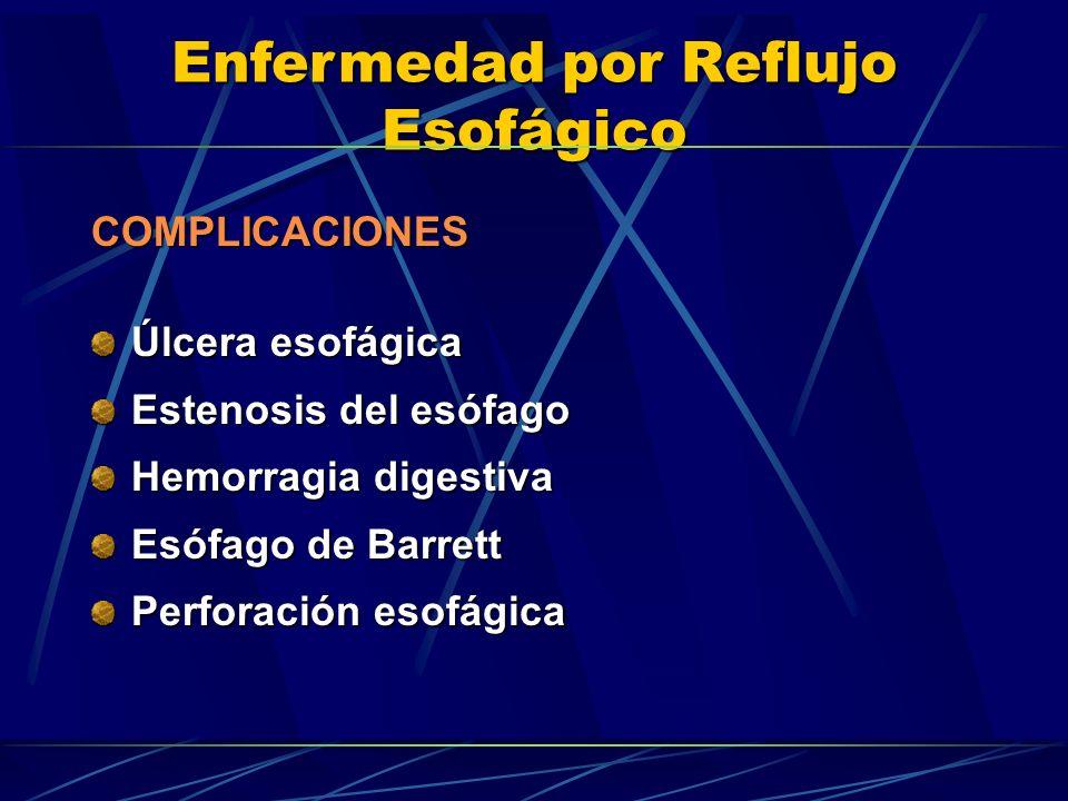 COMPLICACIONES Úlcera esofágica. Estenosis del esófago. Hemorragia digestiva. Esófago de Barrett.