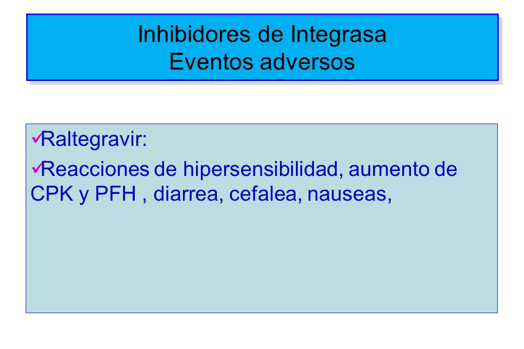 Inhibidores de Integrasa Eventos adversos