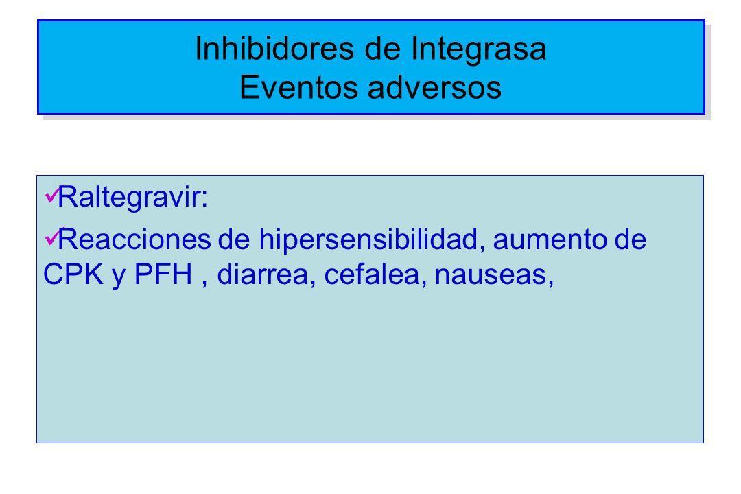 Inhibidores de Integrasa Eventos adversos