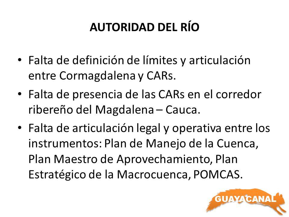 AUTORIDAD DEL RÍO Falta de definición de límites y articulación entre Cormagdalena y CARs.