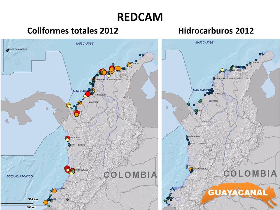 REDCAM Coliformes totales 2012 Hidrocarburos 2012 GUAYACANAL