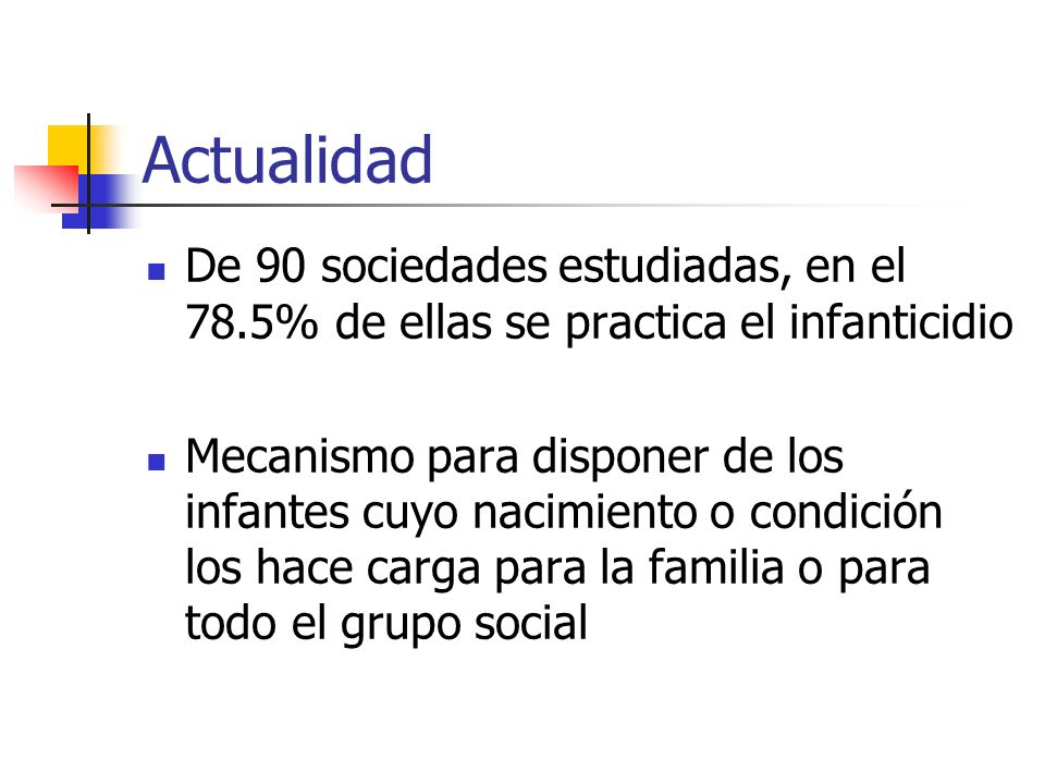 Actualidad De 90 sociedades estudiadas, en el 78.5% de ellas se practica el infanticidio.