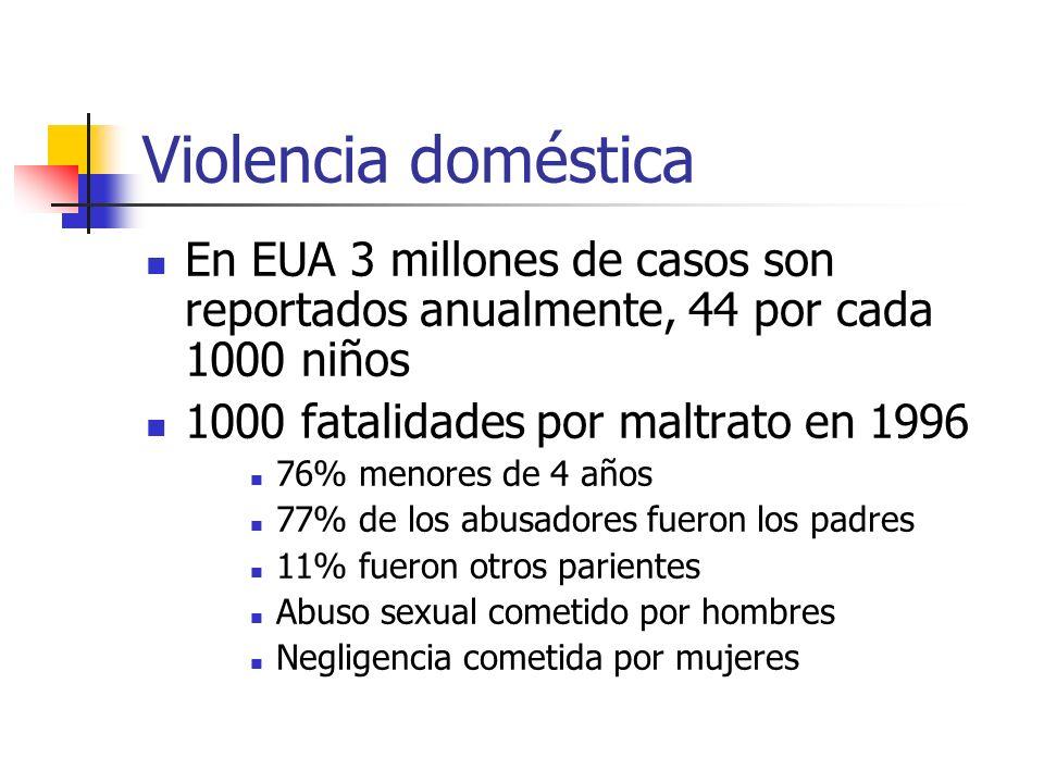 Violencia doméstica En EUA 3 millones de casos son reportados anualmente, 44 por cada 1000 niños. 1000 fatalidades por maltrato en 1996.