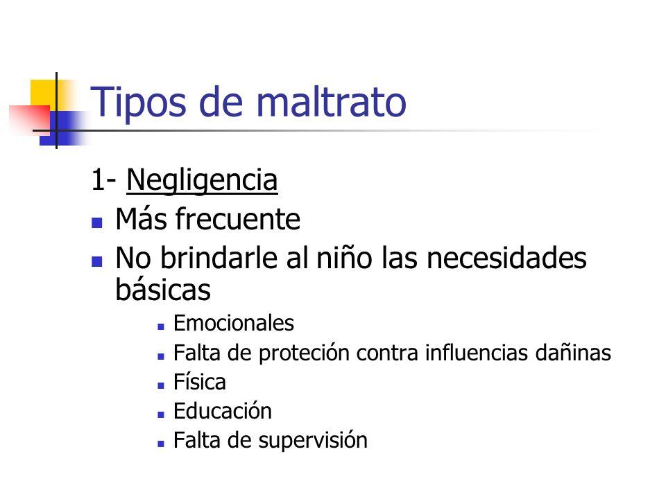 Tipos de maltrato 1- Negligencia Más frecuente