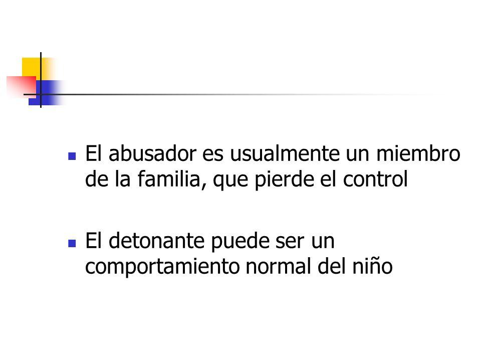 El abusador es usualmente un miembro de la familia, que pierde el control