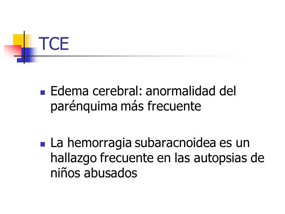 TCE Edema cerebral: anormalidad del parénquima más frecuente