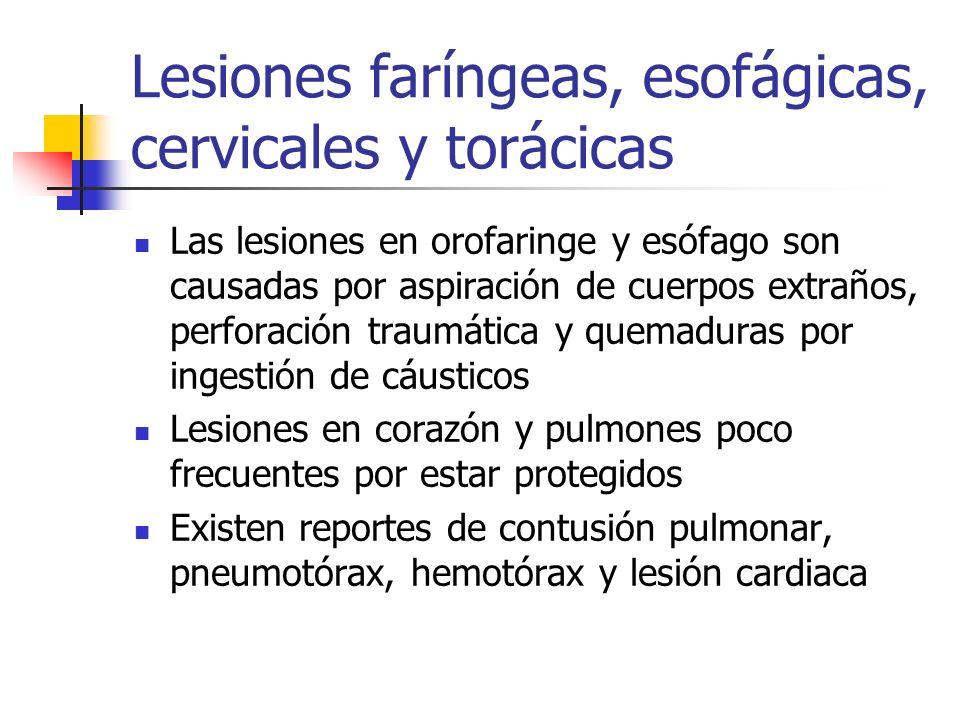 Lesiones faríngeas, esofágicas, cervicales y torácicas