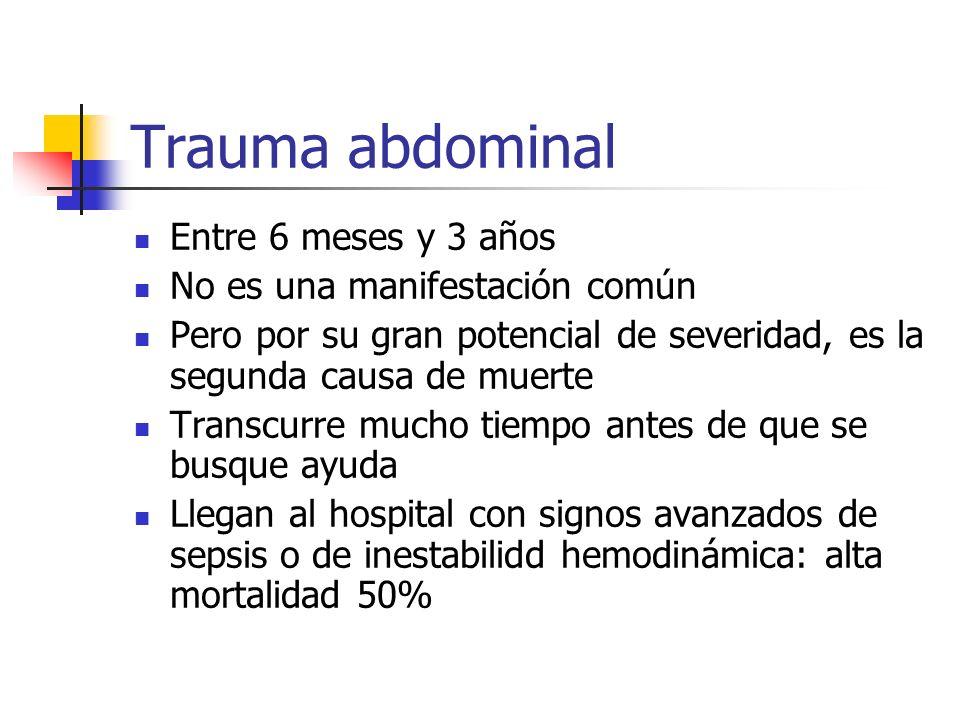 Trauma abdominal Entre 6 meses y 3 años No es una manifestación común