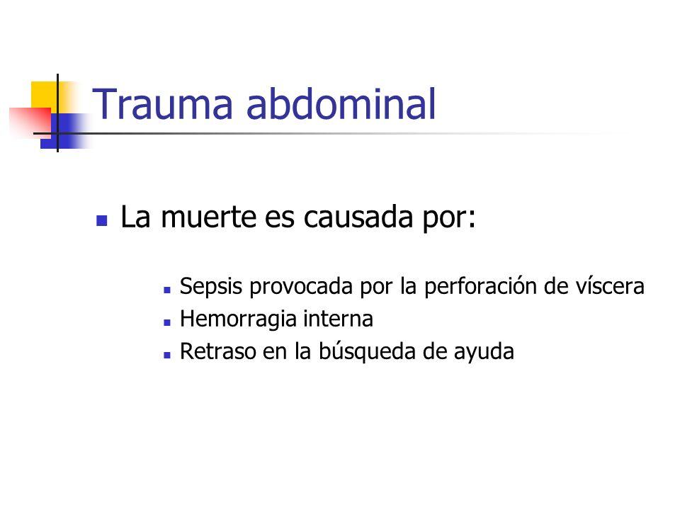 Trauma abdominal La muerte es causada por: