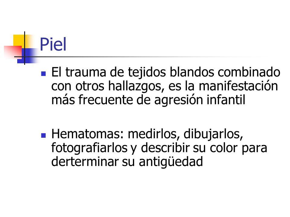 Piel El trauma de tejidos blandos combinado con otros hallazgos, es la manifestación más frecuente de agresión infantil.