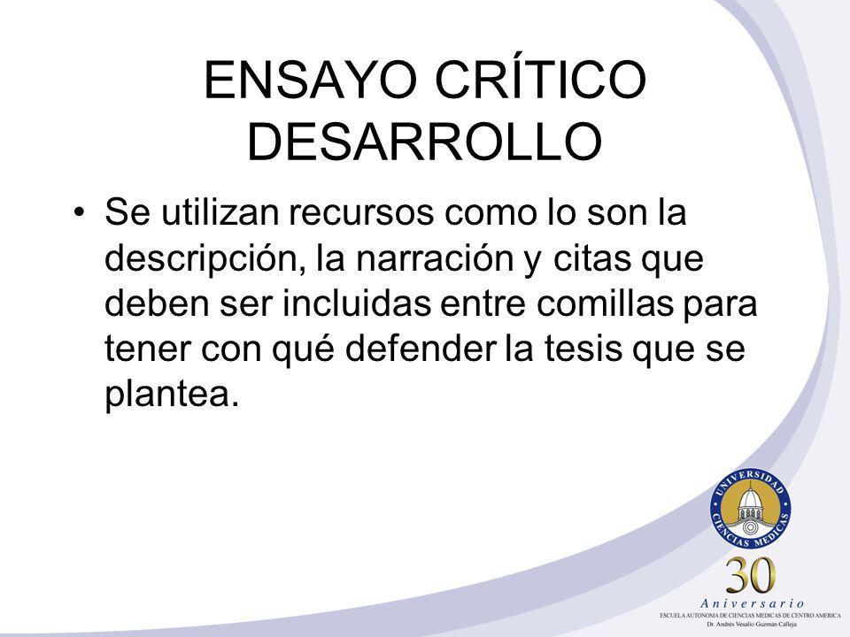 ENSAYO CRÍTICO DESARROLLO