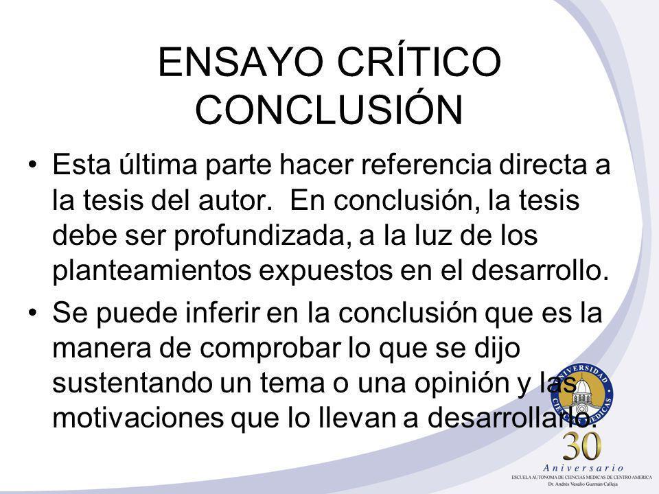 ENSAYO CRÍTICO CONCLUSIÓN