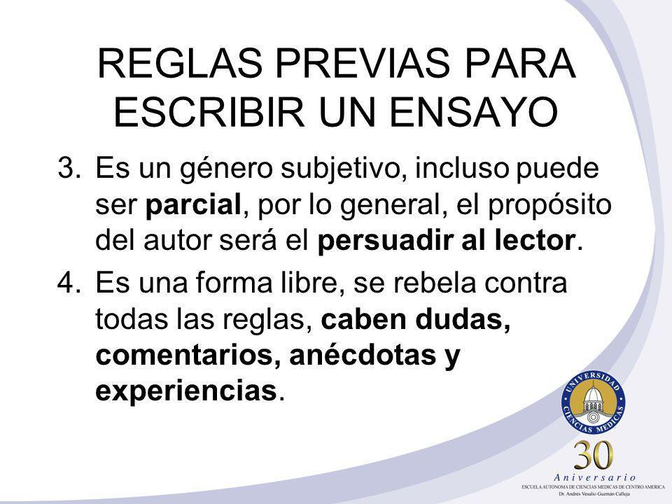 REGLAS PREVIAS PARA ESCRIBIR UN ENSAYO
