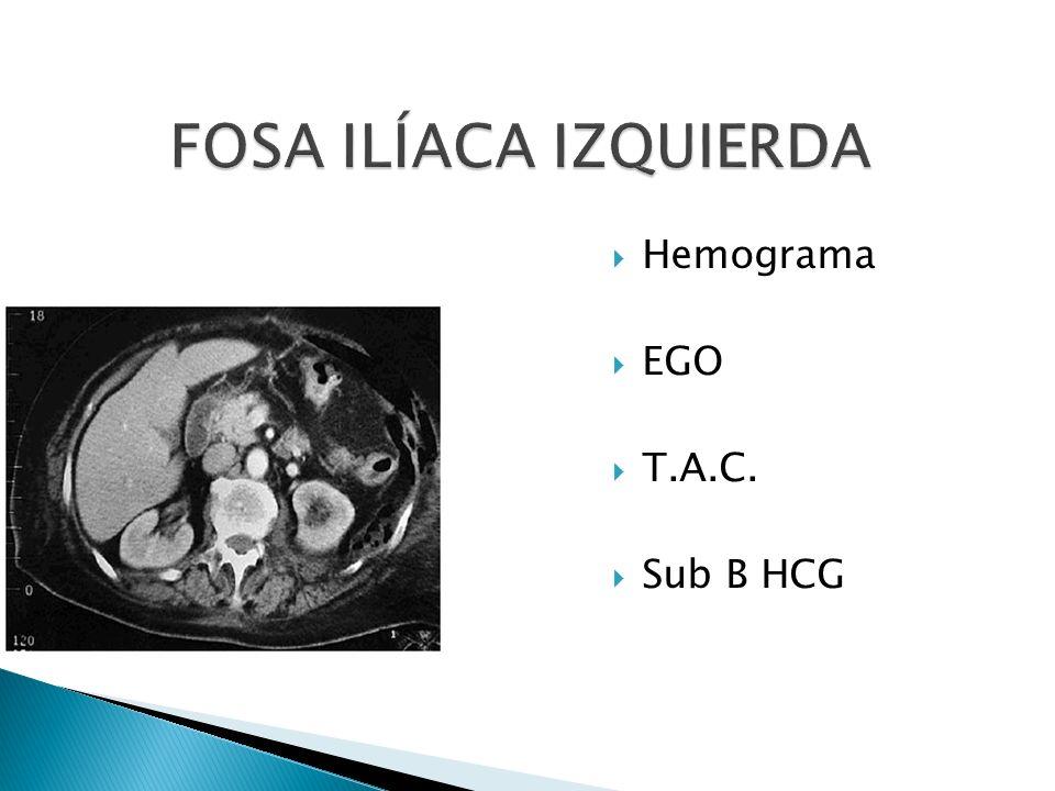 FOSA ILÍACA IZQUIERDA Hemograma EGO T.A.C. Sub B HCG