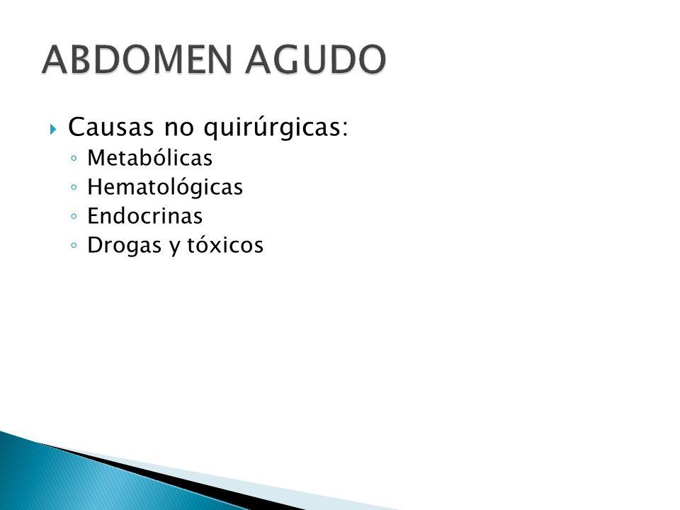 ABDOMEN AGUDO Causas no quirúrgicas: Metabólicas Hematológicas