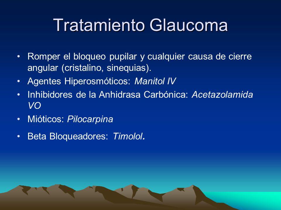 Tratamiento GlaucomaRomper el bloqueo pupilar y cualquier causa de cierre angular (cristalino, sinequias).