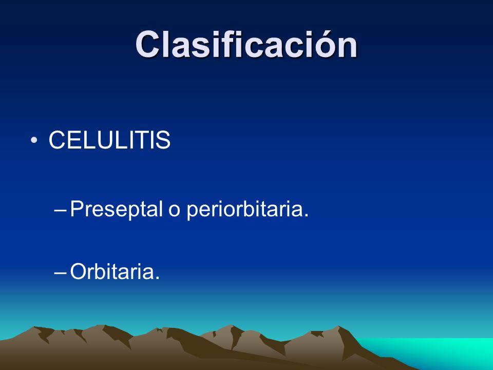 Clasificación CELULITIS Preseptal o periorbitaria. Orbitaria.