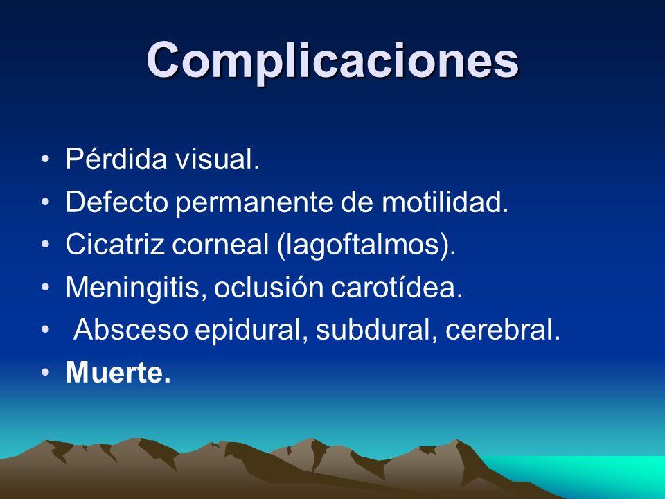 Complicaciones Pérdida visual. Defecto permanente de motilidad.