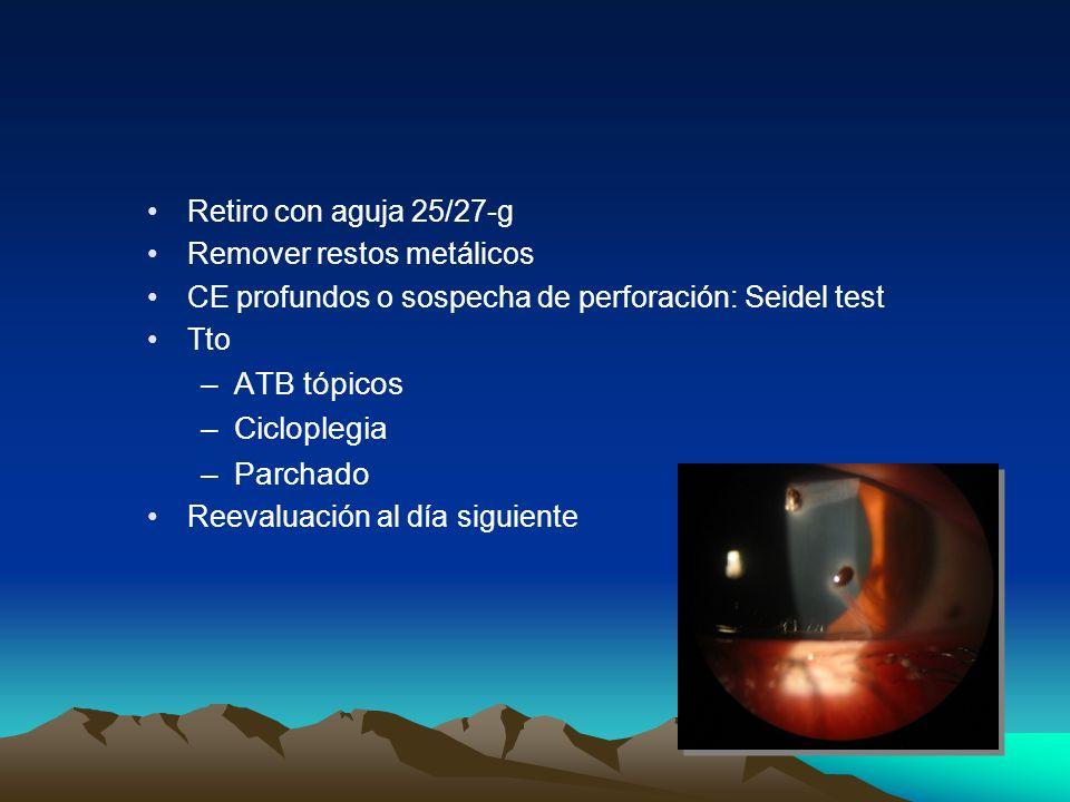 ATB tópicos Cicloplegia Parchado Retiro con aguja 25/27-g
