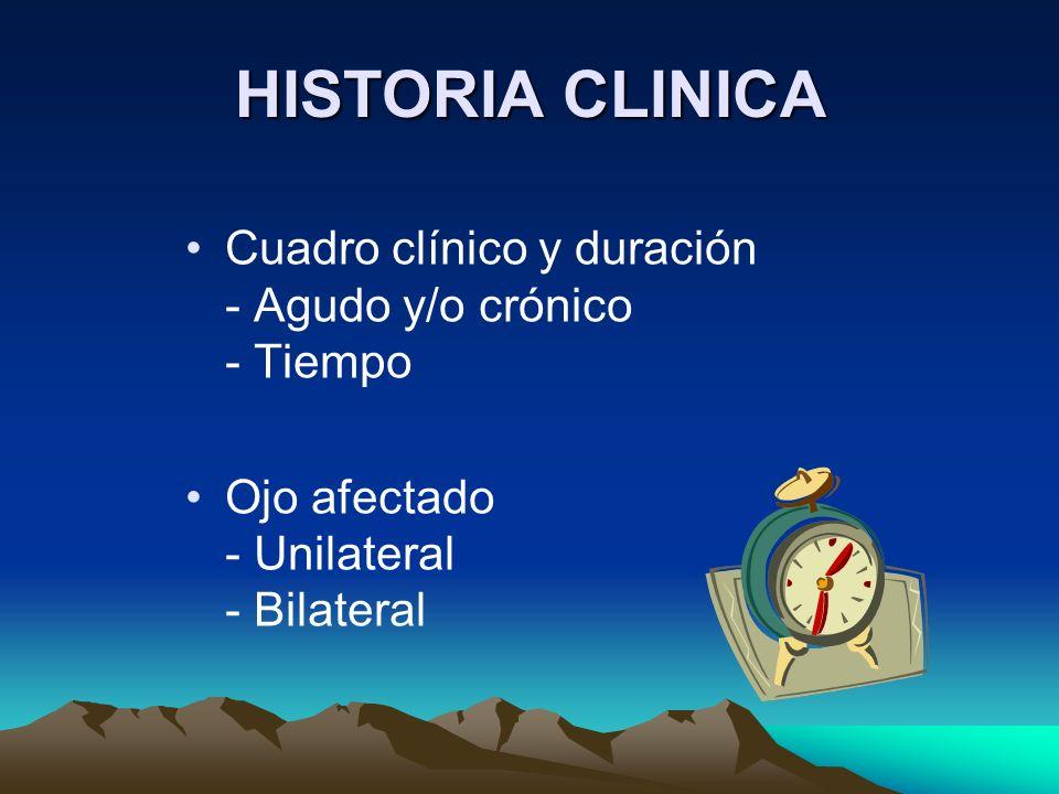 HISTORIA CLINICA Cuadro clínico y duración - Agudo y/o crónico - Tiempo.