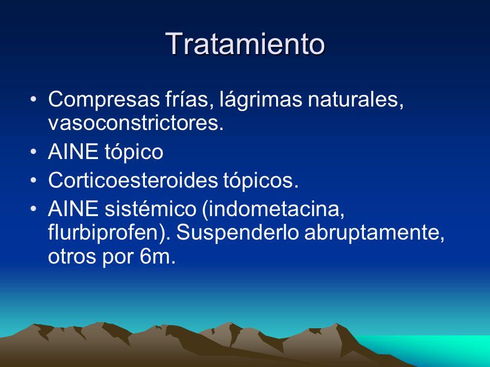 Tratamiento Compresas frías, lágrimas naturales, vasoconstrictores.