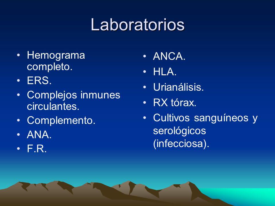 Laboratorios Hemograma completo. ERS. Complejos inmunes circulantes.