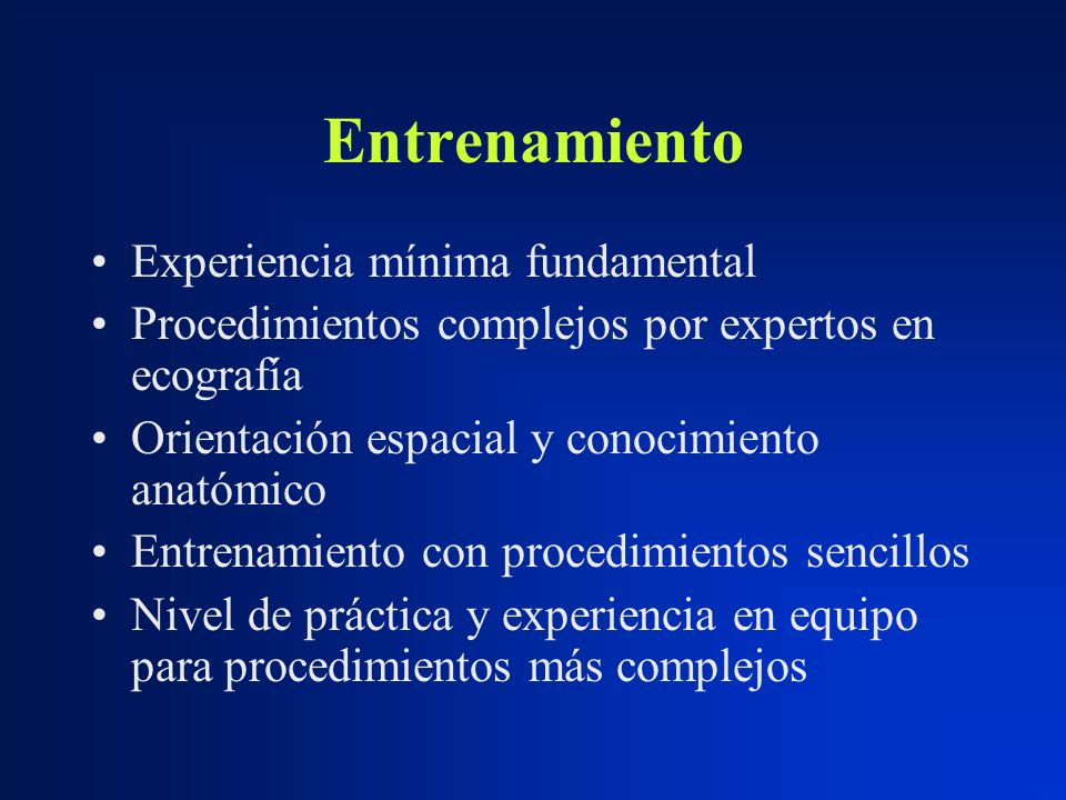 Entrenamiento Experiencia mínima fundamental