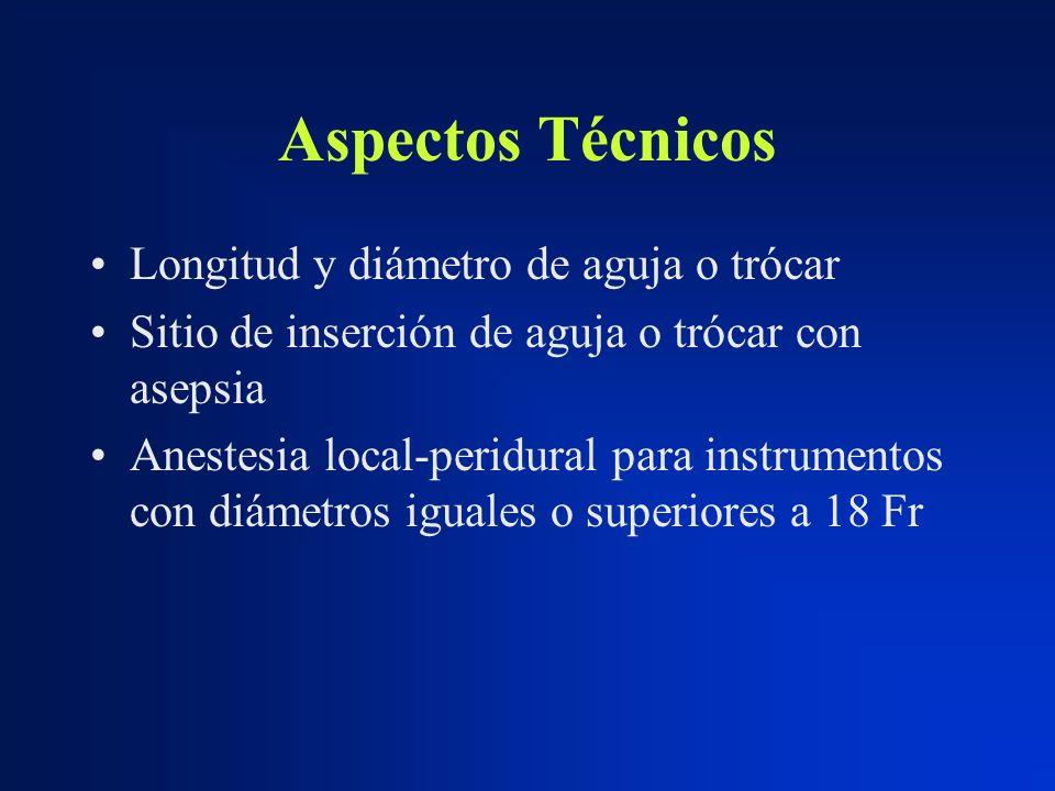 Aspectos Técnicos Longitud y diámetro de aguja o trócar