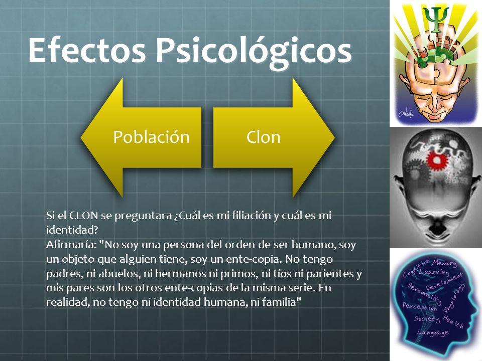 Efectos Psicológicos Población. Clon. Si el CLON se preguntara ¿Cuál es mi filiación y cuál es mi identidad