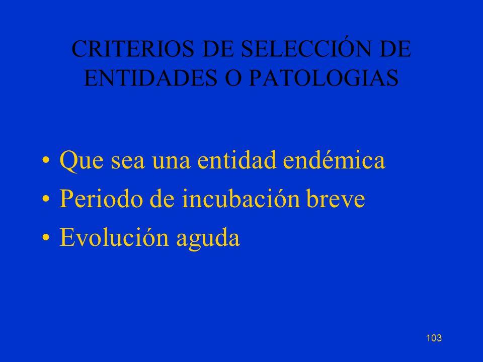 CRITERIOS DE SELECCIÓN DE ENTIDADES O PATOLOGIAS