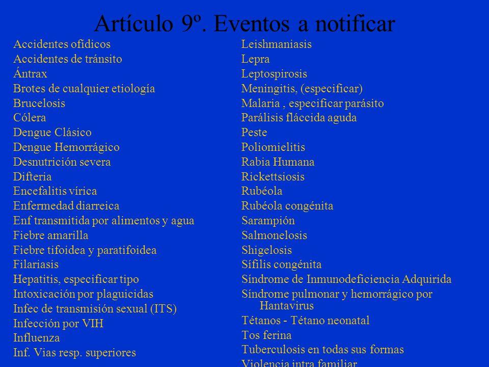 Artículo 9º. Eventos a notificar