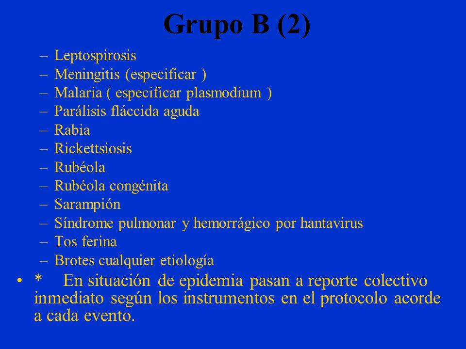 Grupo B (2) Leptospirosis. Meningitis (especificar ) Malaria ( especificar plasmodium ) Parálisis fláccida aguda.