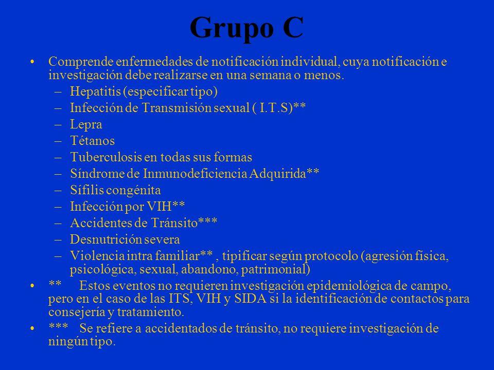 Grupo C Comprende enfermedades de notificación individual, cuya notificación e investigación debe realizarse en una semana o menos.