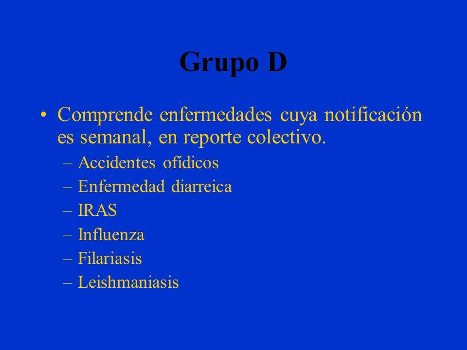 Grupo D Comprende enfermedades cuya notificación es semanal, en reporte colectivo. Accidentes ofídicos.