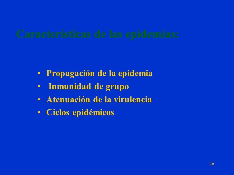 Características de las epidemias: