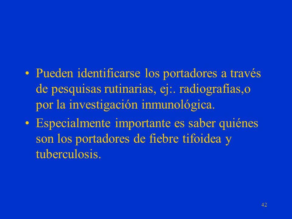 Pueden identificarse los portadores a través de pesquisas rutinarias, ej:. radiografías,o por la investigación inmunológica.
