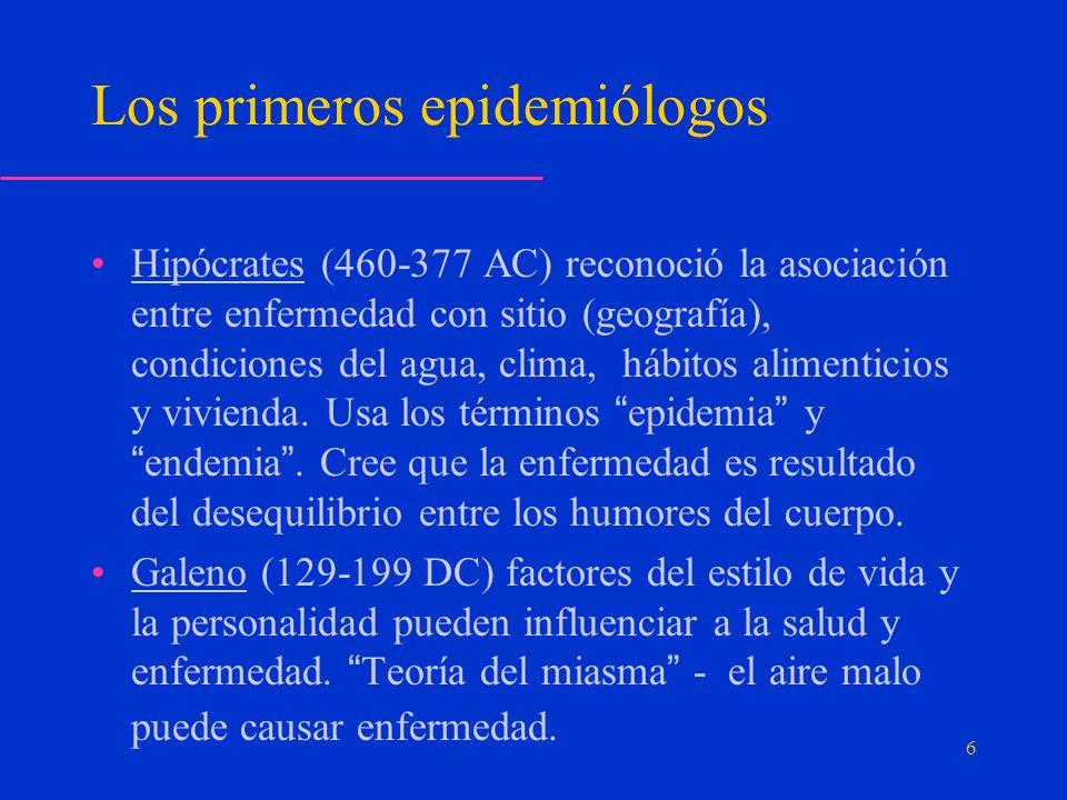 Los primeros epidemiólogos