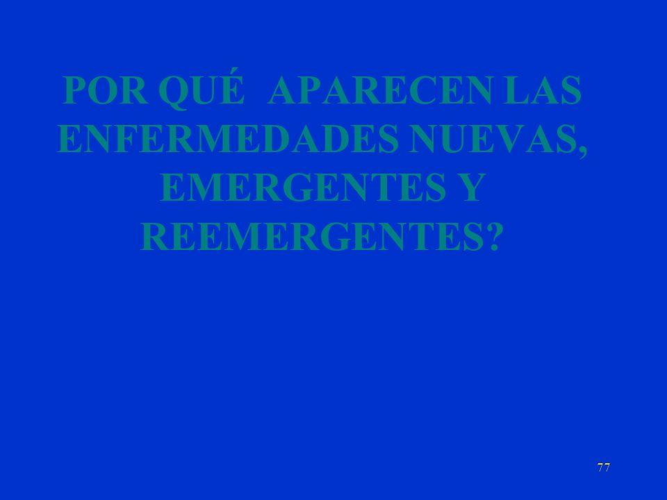 POR QUÉ APARECEN LAS ENFERMEDADES NUEVAS, EMERGENTES Y REEMERGENTES