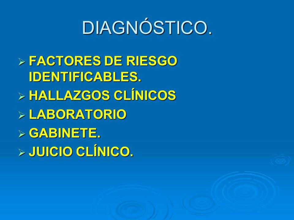 DIAGNÓSTICO. FACTORES DE RIESGO IDENTIFICABLES. HALLAZGOS CLÍNICOS