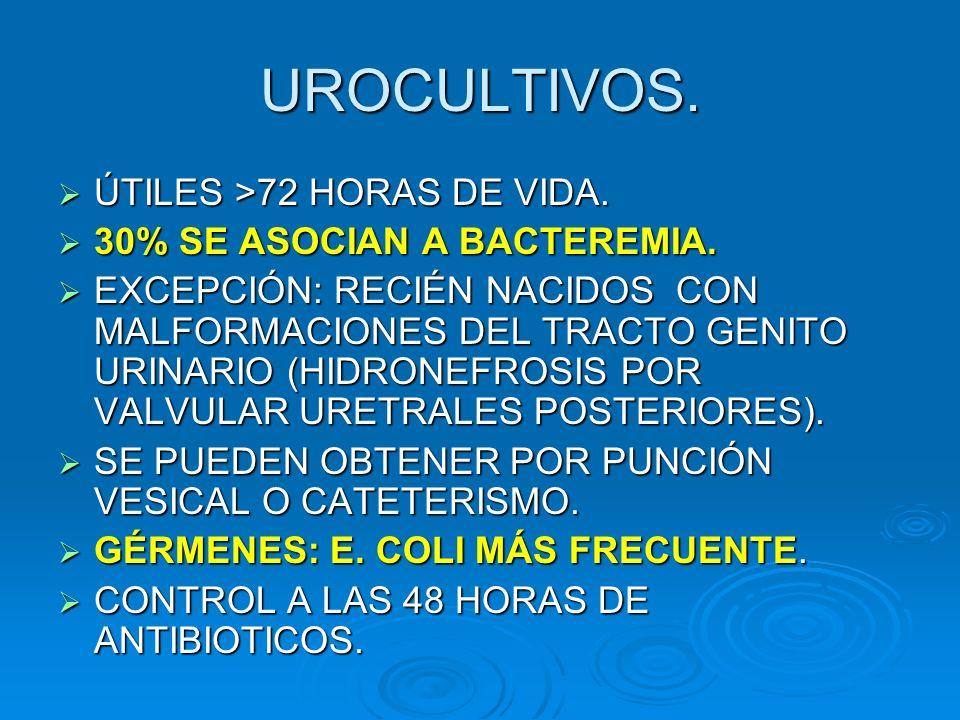 UROCULTIVOS. ÚTILES >72 HORAS DE VIDA. 30% SE ASOCIAN A BACTEREMIA.