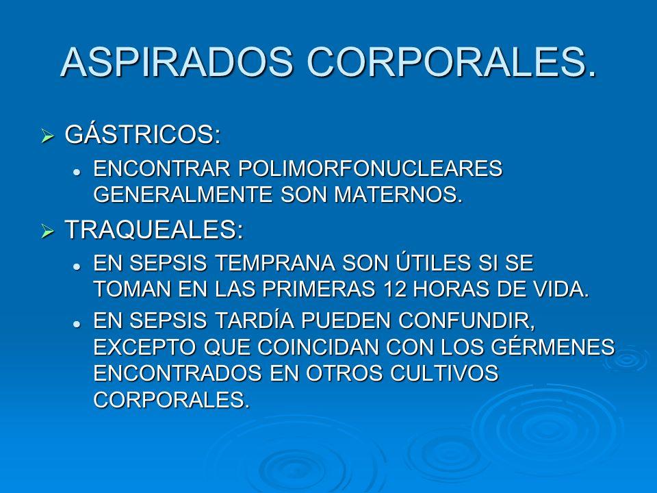 ASPIRADOS CORPORALES. GÁSTRICOS: TRAQUEALES: