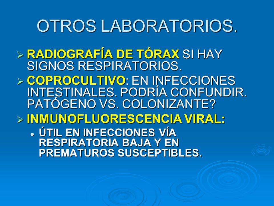 OTROS LABORATORIOS. RADIOGRAFÍA DE TÓRAX SI HAY SIGNOS RESPIRATORIOS.