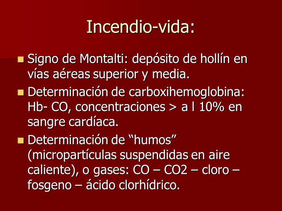 Incendio-vida: Signo de Montalti: depósito de hollín en vías aéreas superior y media.
