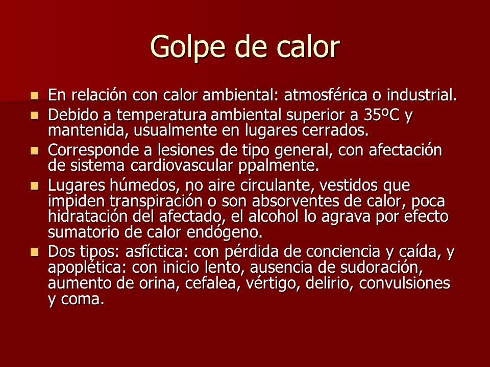 Golpe de calor En relación con calor ambiental: atmosférica o industrial.