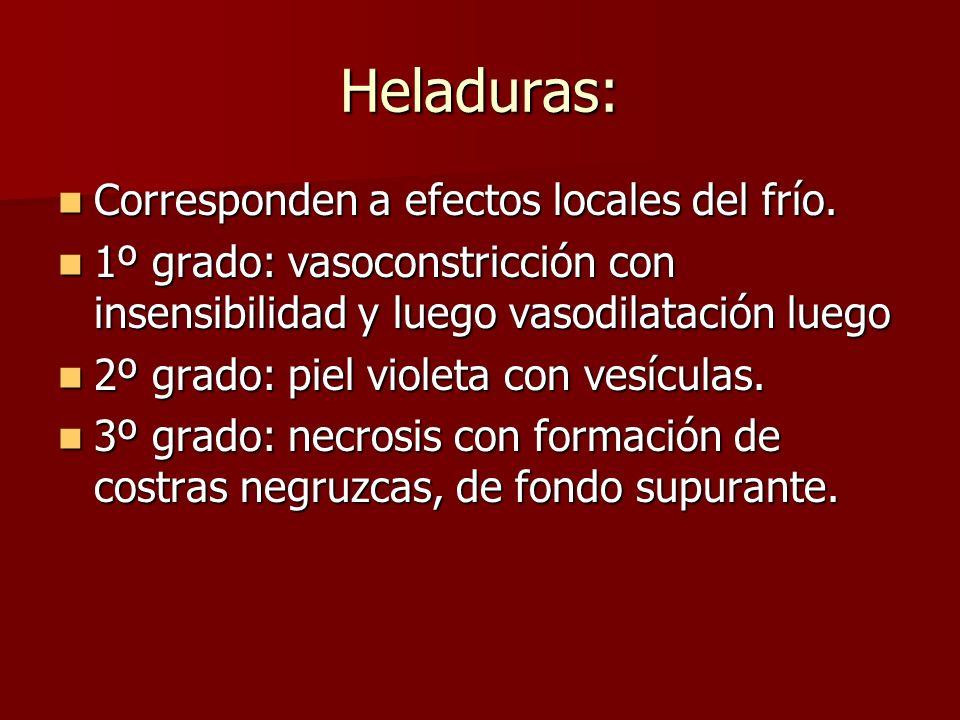 Heladuras: Corresponden a efectos locales del frío.